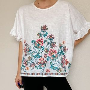 Umgee  White Oversized Embroidered Floral Blouse